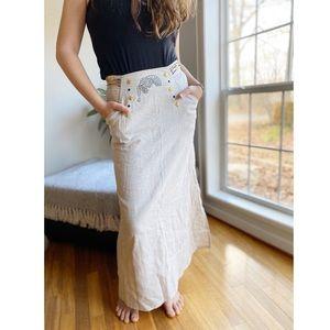 Vintage leopard metallic stud side slit maxi skirt